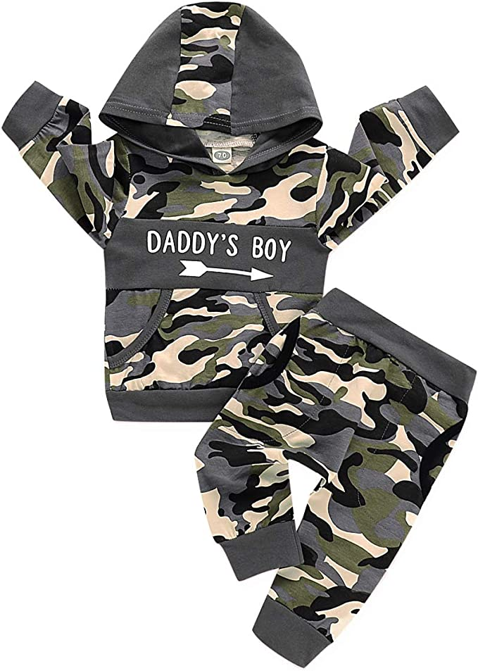 UK Toddler Kids Baby Boys Clothes Camo Hooded Tops Pants Outfits Sets Tracksuit