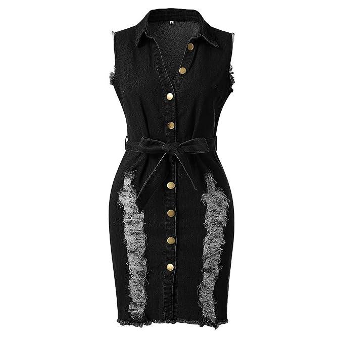 Amazon.com: Kulywon Vestido vaquero de encaje para mujer ...
