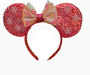 Purple Leopard Mouse Ears headbands, Rainbow Mouse Ears and other beautiful hair accessories, Glitter Party Hot Princess Decoration Cosplay Costume for Girls & Women(Ice pink and white)