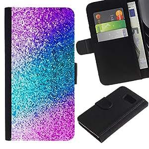 EJOY---La carpeta del tirón la caja de cuero de alta calidad de la PU Caso protector / Samsung Galaxy S6 / --Teal Purple Sparkling Acuarela