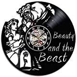Beauty and the Beast Lovely Black Vinyl Record Clock Gift For Sale