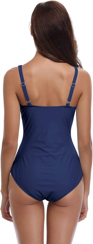 SHEKINI Traje de Baño de Una Pieza Mujer Halter Elegante Trajes de Baños para Mujer Alta Cintura Push Up con Aro: Amazon.es: Ropa y accesorios