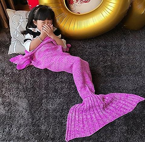 AOOK HOMEMADE Mermaid Tail Blanket Crochet, Warm Sofa Quilt Super Soft All Seasons Sleeping Blankets,Handmade Mermaid Tail Blanket for Kids (Purple - Homemade Crochet