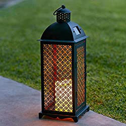 Moroccan Solar Powered LED Garden Flameless Candle Lantern