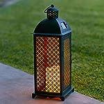 Lanterna Solare di Metallo in Stile Marocchino con Candela LED per Giardino ed Esterni di Lights4fun