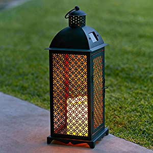 61joXojz4fL. SS300  - Moroccan Solar Powered LED Garden Flameless Candle Lantern