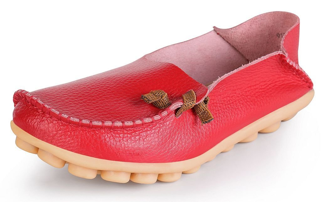 LabatoStyle Women's Genuine Leather Flats Casual Moccasin Driving Loafers Shoes (Red, 9 B(M) US)
