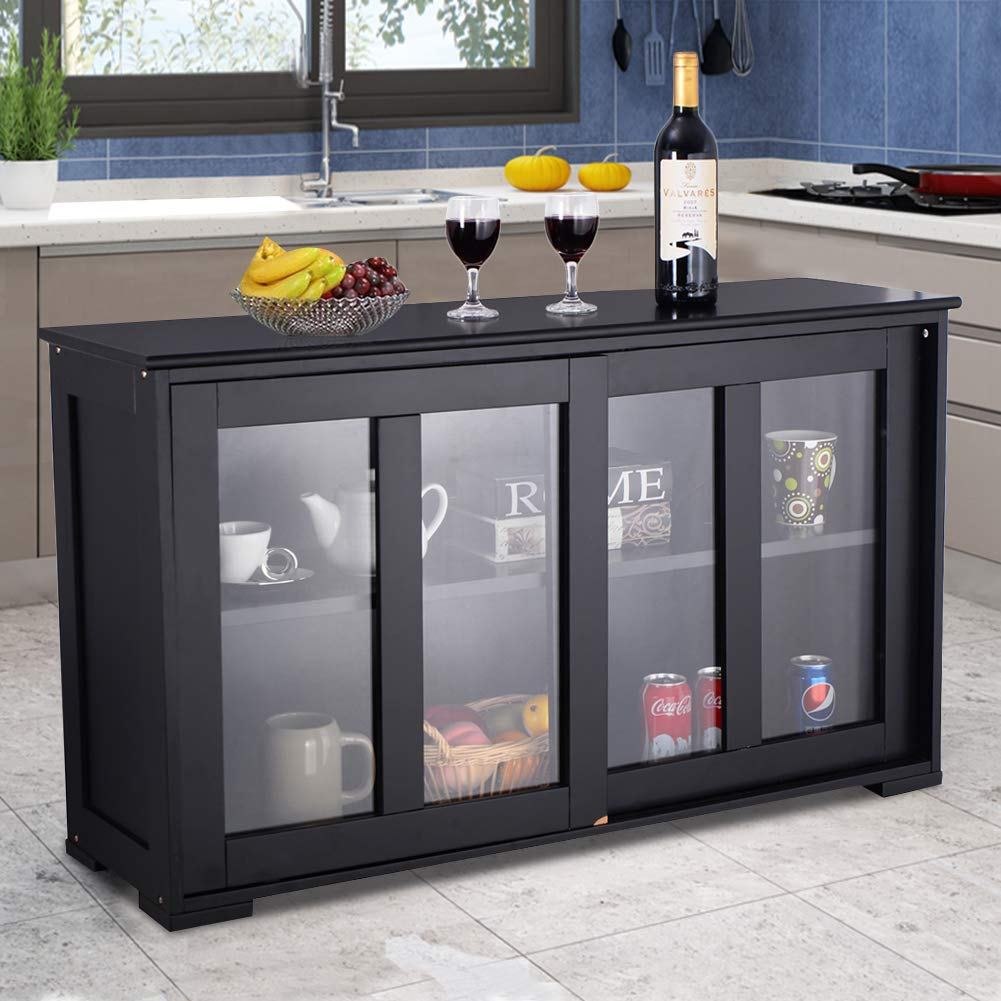 WATERJOY Kitchen Storage Sideboard, Stackable Buffet Storage Cabinet with Sliding Door Tempered-Glass Panels for Home Kitchen, Antique Black by WATERJOY (Image #3)