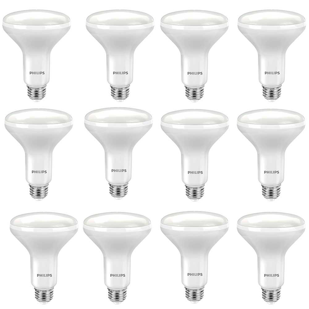 Philips LED 465286 60 Watt Equivalent Soft White Dimmable BR30 LED Light Bulb, Frustration Free 12 Pack, Piece