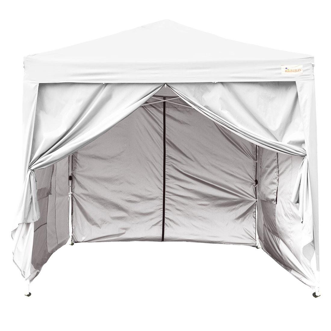 Kingbird 10 x 10 ft Easy Pop up Canopy Waterproof Party Tent 4 Removable Walls Mesh Windows with Carry Bag-7 Colors (white)
