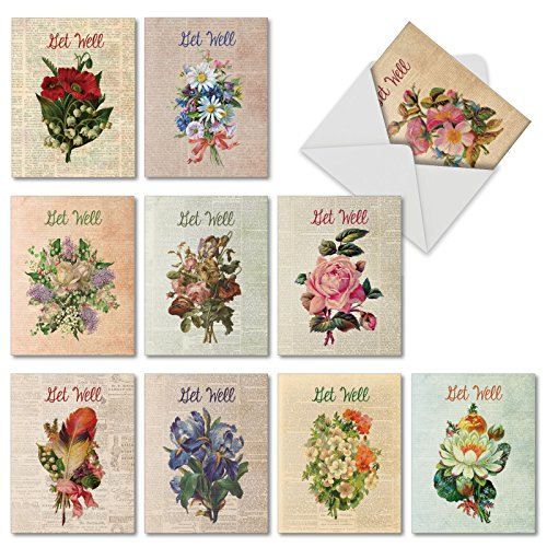 Mini Boxed Arrangement - 10 Assorted 'Flower Press' Get Well Greeting Cards with Envelopes (Mini 4