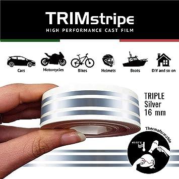 2F 11 mm x 10 mt Argento 4R Quattroerre.it 10507 Trim Stripes Strisce Adesive per Auto