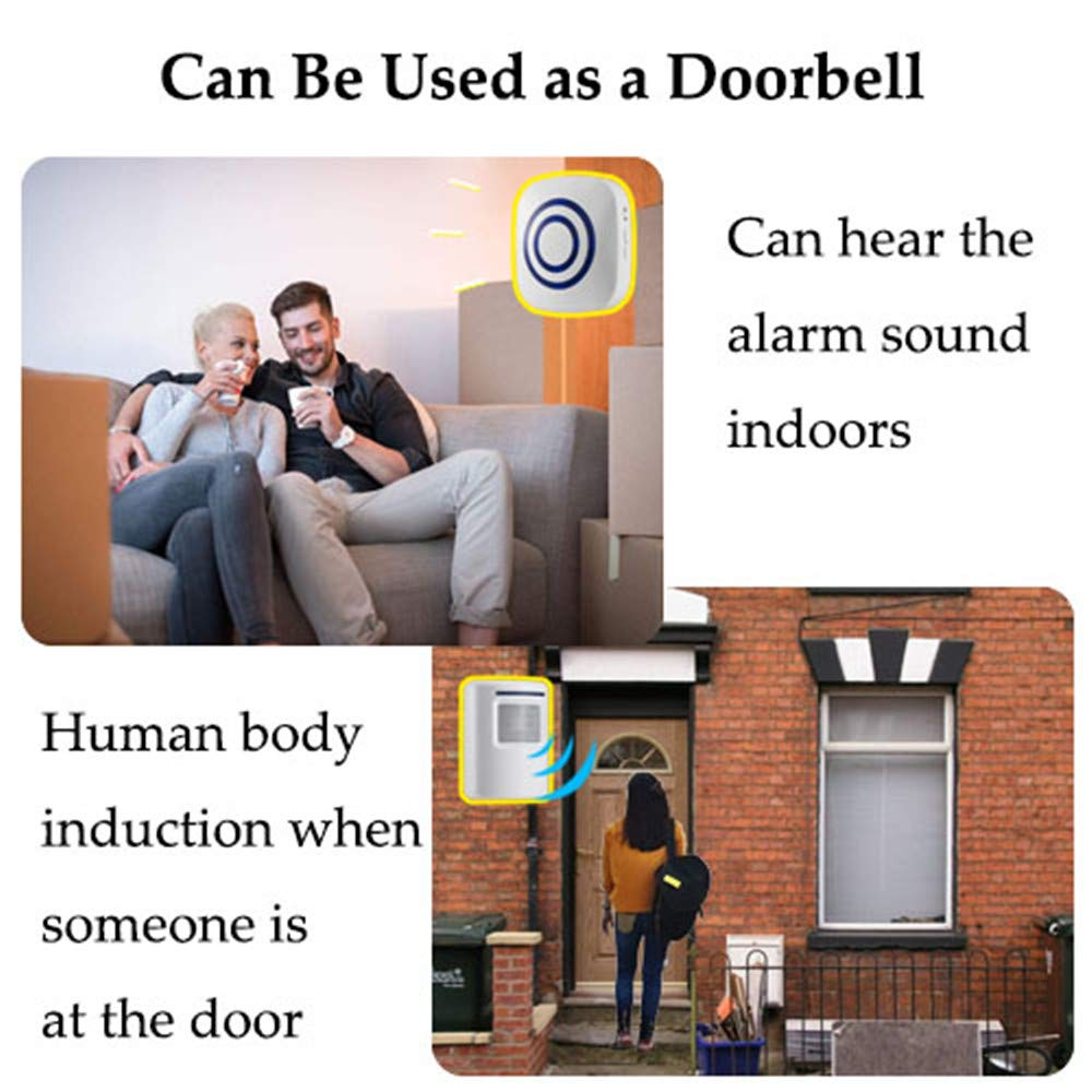 Motion Sensor Detect Alert with 2 Sensor and 1 Receiver -38 Chime Tunes WJLING Motion Sensor Alarm LED Indicators Wireless Home Security Driveway Alarm