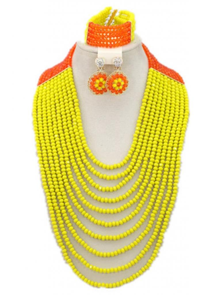 Soyagift African Wedding Long Style 10 Layers Yellow Crystal Beads Jewelry Set by Soyagift