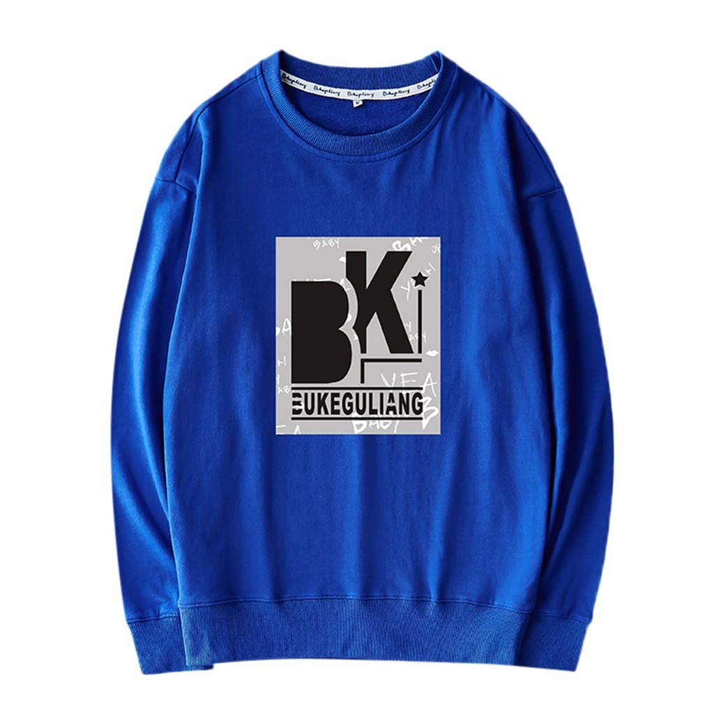 Men's Autumn Winter Long Sleeved Tops Letter Casual T-Shirts Blue by Badymin