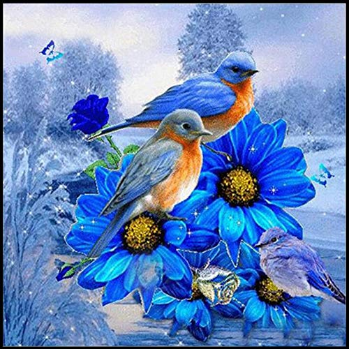 DIY 5D Diamond Painting by Number Kits,Crystal Rhinestone Diamond Embroidery Paintings Pictures Arts Craft for Home Wall Decor,Full Drill,Animal Bird with Blue Flowers,11.8x11.8in ()