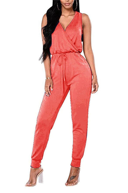 Hot Pink TYFeng Women's Deep V Sleeveless Long Pants Plain Pocket Summer Drawstring Waisted Jumpsuits Rompers