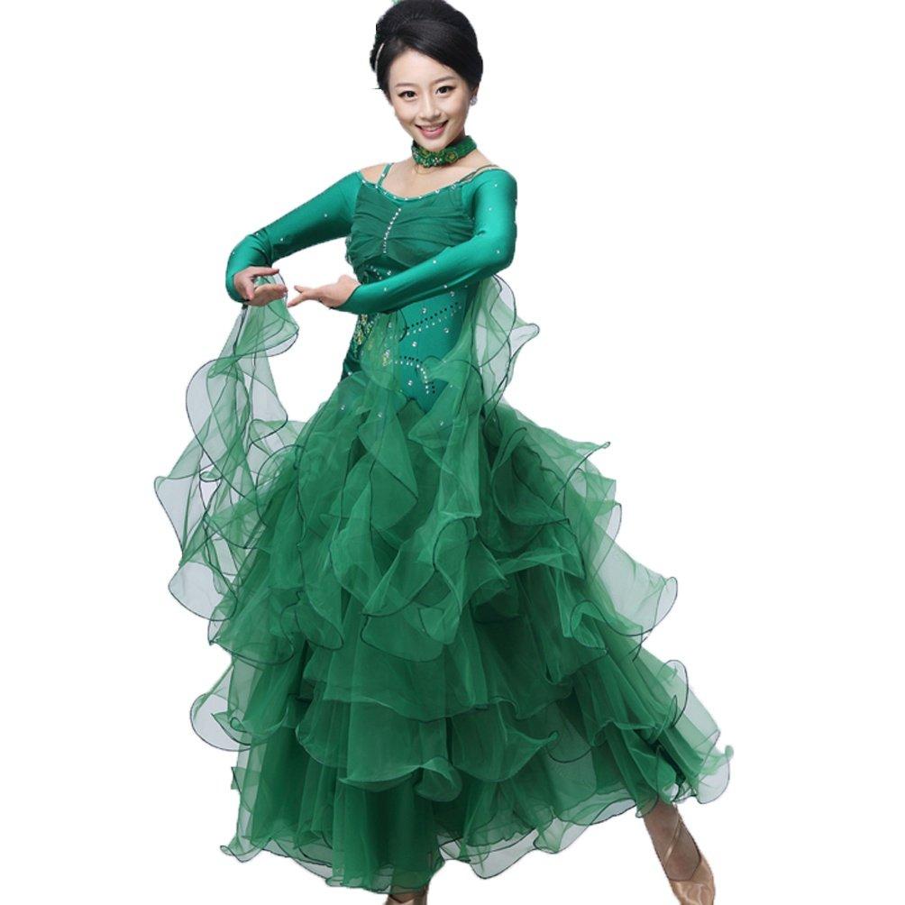 Modern Dance Kostüm für Frauen Wettbewerb Kleider Langarm Ballroom Tanzrock Tango Walzer Tanzkleid Performance Kleidung B07MGRMMXJ Bekleidung Helle Farben