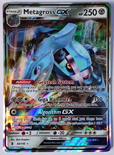 Pokemon, Sun & Moon Guardian rising, Metagross GX 85/145, Ultra Rare, Mint, New, Full Art