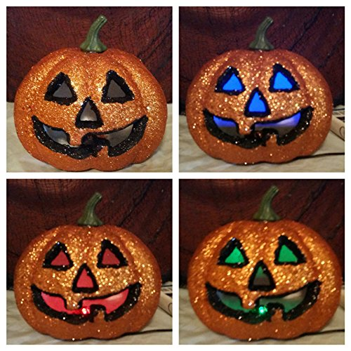 Orange Halloween Lighted Pumpkin ~ Glitter Decoration / Prop ~ Changing Flashing -