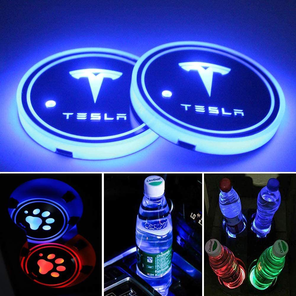 Autoxo LED Car Cup Holder Lights for DOD-ge 7 Colors Changing USB Charging Mat Luminescent Cup Pad LED Interior Atmosphere Lamp 2pcs
