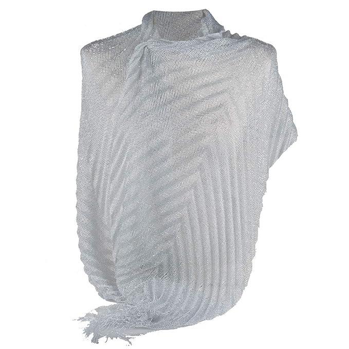 4bd9875e8 Emila Coprispalle bianco donna elegante cerimonia a plissè con frange  sciarpa x ragazza foulard fular scialle