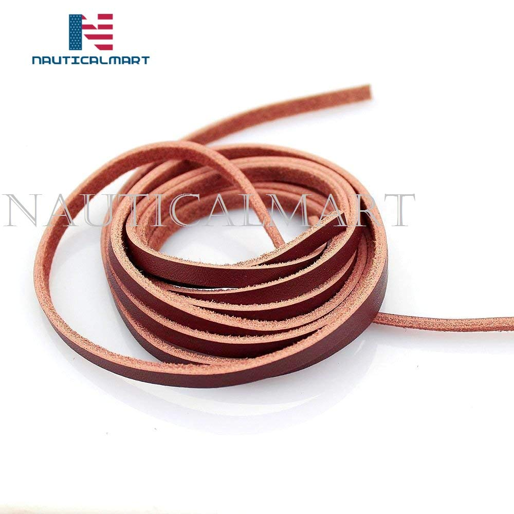 Nauticalmart 5mm Flat Genuine Leather Cord Braiding String 1 Yards (Flat Light Brown)