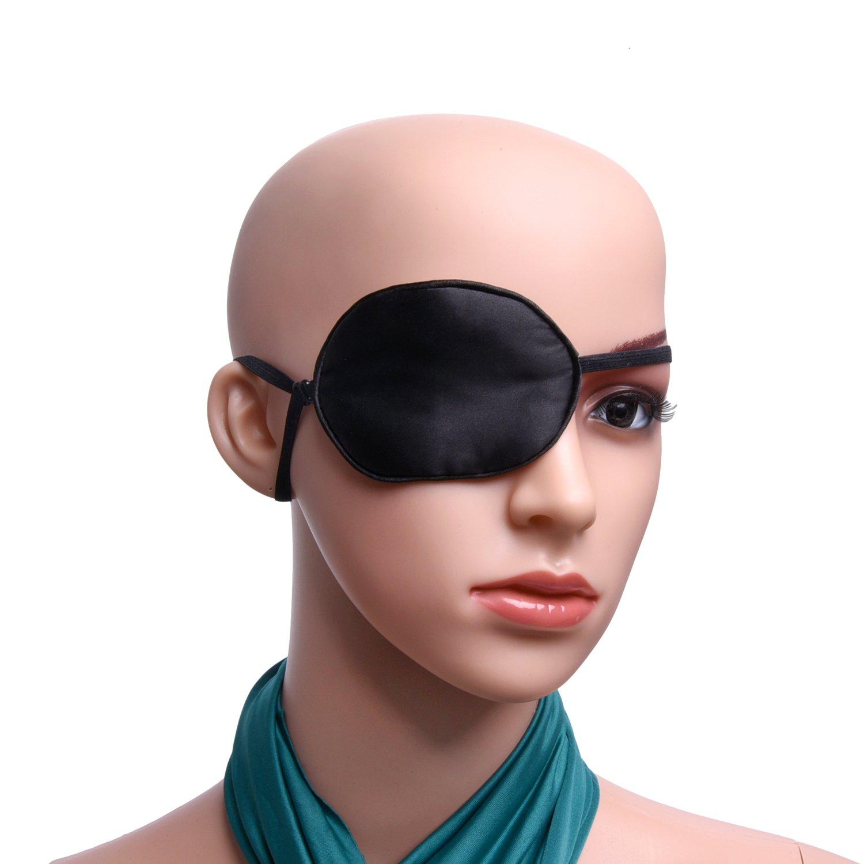 Mudder Silk Eye Patch with Elastic Strap for Amblyopia Lazy Eye Strabismus 8 x 6.5 cm Black