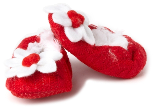 Mud Pie Girls Newborn Poinsettia Baby Slipper, Red 0-6 Months