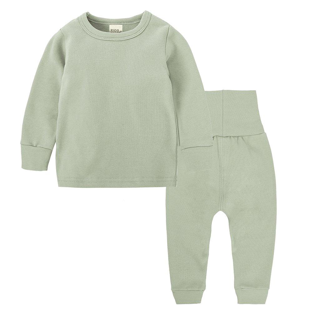 Chickwin Ensemble de Pyjama Bébé Enfants Filles Garçons Couleur Unie Pyjamas Set, Top Manches Longues+Taille Haute Pantalon Vêtement de Nuit 100% Coton 0-8 Ans