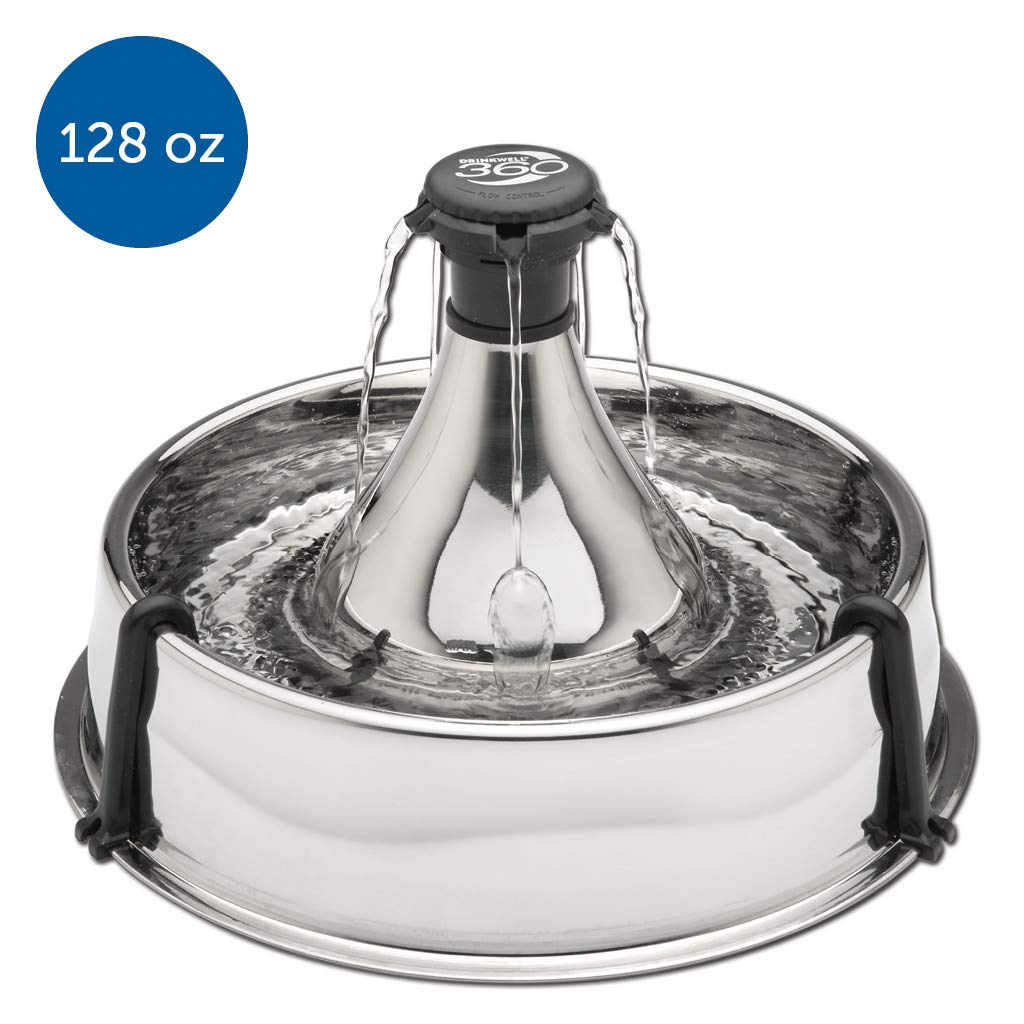 PetSafe Drinkwell 360 Multi-Pet Stainless Steel Dog and Cat Fountain - Filtered Water - 128 oz. Water Capacity by PetSafe