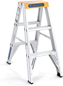 ORIENTOOLS Aluminum Step Ladder 3 Feet, Twin Front Ladder with 300 lb Duty Rating (Load Capacity Type IA)