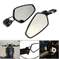 """OWSOO Pair of Motorcycle Universal 7/8"""" Handle Bar End Rearview Mirror CNC Aluminum 360° Rotation Bracket Side View Mirrors"""