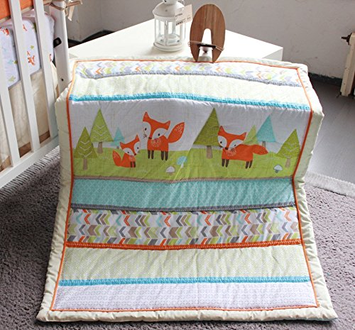 NAUGHTYBOSS Unisex Baby Bedding Set Cotton 3D Embroidery Prairie Fox Quilt Bumper Bedskirt Fitted Blanket 8 Pieces Color Matching by NAUGHTYBOSS (Image #3)