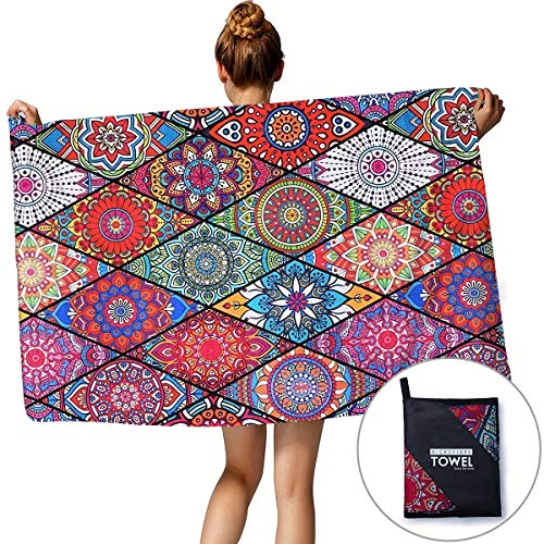 Tropical Outdoor Sports Beach Towel Graphic Printed Religious Theme Mandala Multi-Colored Ultra Absorbent Swim Bath Pool Shower Towel Affordable Oversized Family Size Fancy Blankets For Adult