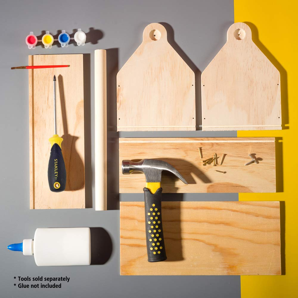 Stanley Jr DIY Toolbox Kit for Kids - Easy to Assemble Wood Craft Toolbox - Build A Tool Box for Kids - Paint & Brushes Included by Stanley Jr (Image #4)