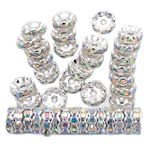 jennysun2010 Czech Crystal Rhinestone 18K Silver Plated 10mm Clear AB Round Rondelle Wavy Edge Spacer Beads 100pcs per Bag for Bracelet Necklace Earrings Jewelry Making Crafts Design ()