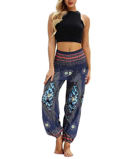 Mujer Pantalón Étnica Harem Pant Aladdin Hippie Yoga ...