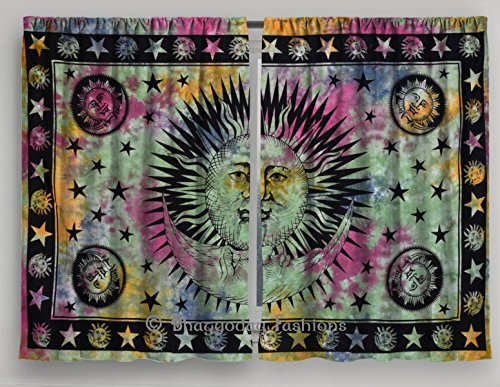Indian Celestial Sun  Moon Star Tie Dye Tapestry Mandala Curtain, Drapes Wall Decor Curtains Valances Set 54 x 76 By Shree Jinvaram