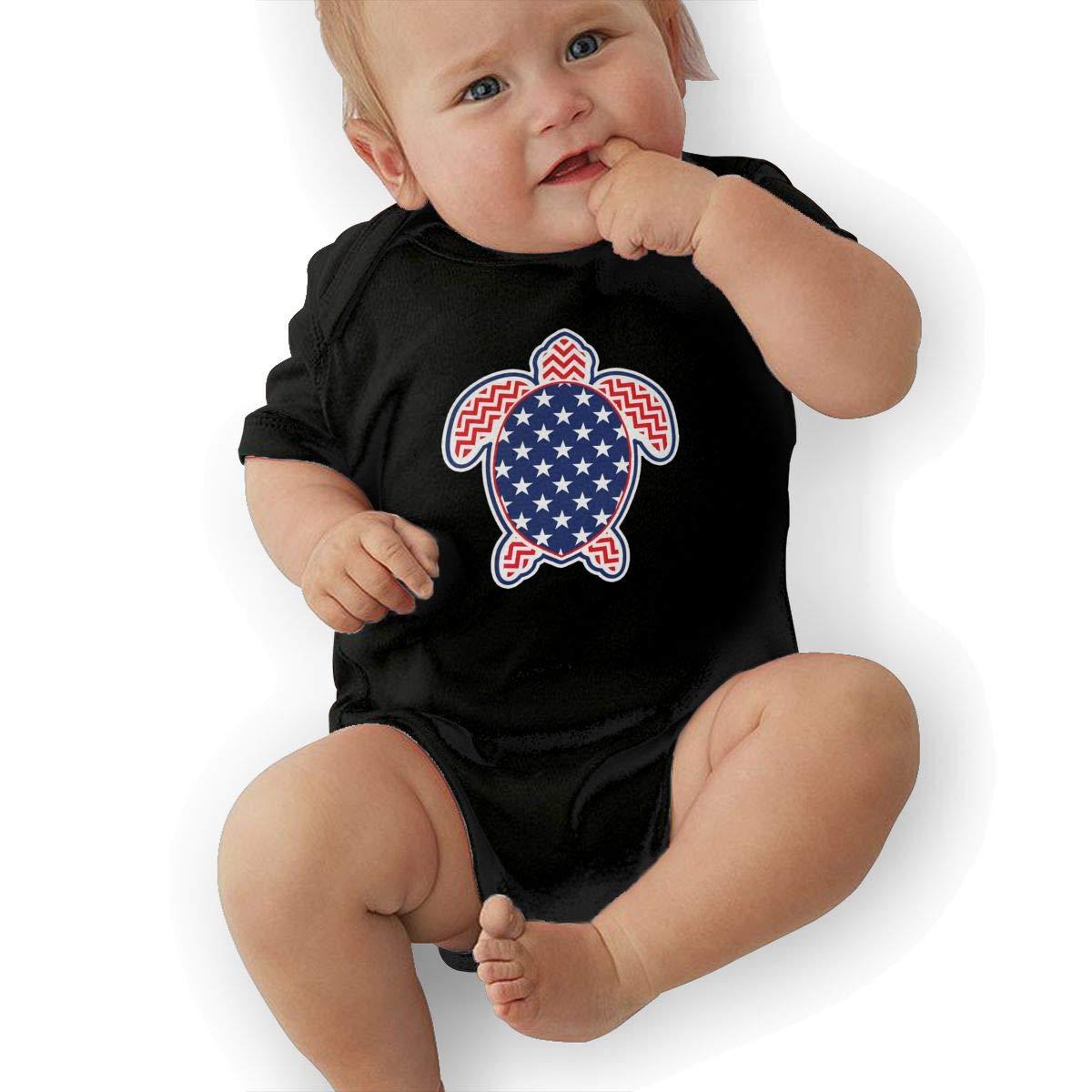 Stars and Strips Sea Turtle Fashion Newborn Baby Short Sleeve Bodysuit Romper Infant Summer Clothing Black