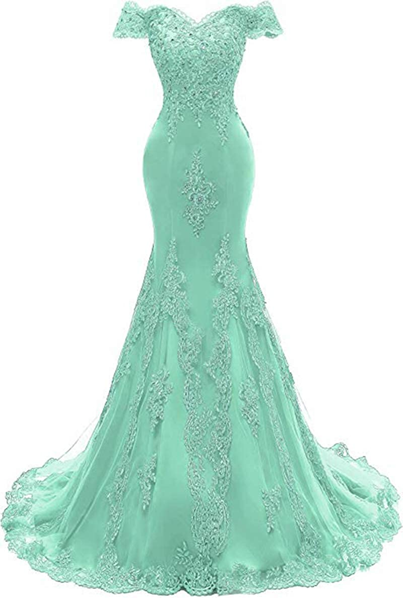 Mint Green ROMOO Women Off the Shoulder Tulle Mermaid Prom Dresses Long Lace Beaded Evening Wedding Dress 2019