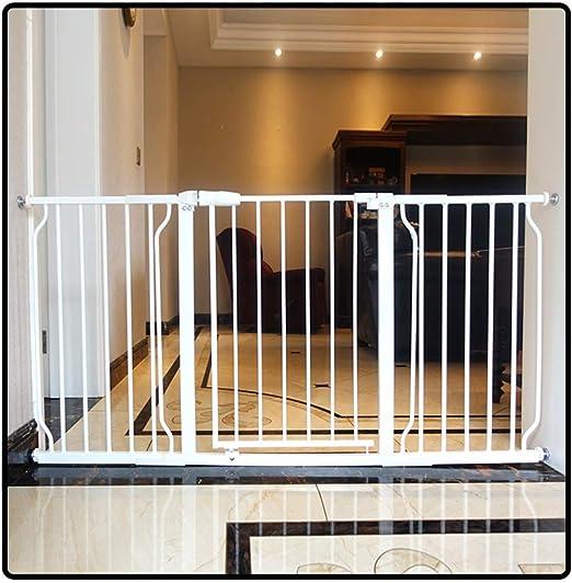 QIANDA Blanco Barrera de Seguridad Bebé Puerta de la Escalera con Puerta De Paso Pasillo Amplio Puerta De Bebe Se Abre A Ambos Lados, Todos Los Anchos (74-265.9cm ...