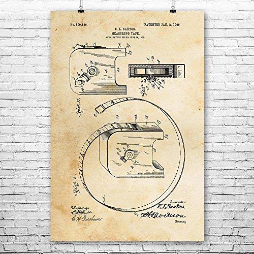 (Retractable Measuring Tape Poster Print, Carpenter Gift, Construction Worker, Shop Teacher, Woodworking, Furniture Maker Vintage Paper (8