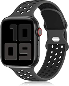 YAXIN Sport Band Compatible for Apple Watch Bands 38mm 40mm 42mm 44mm, Breathable Soft Silicone Sport Replacement Strap Women Men Compatible with iWatch Series SE/6/5/4/3/2/1, Sport Edition