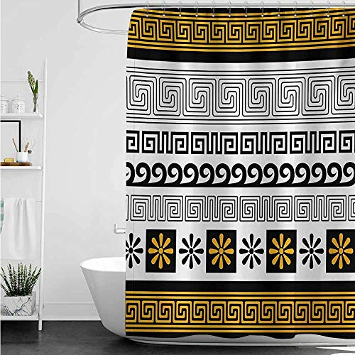 Custom Shower Curtain,Greek Key Traditional Ornament from Greece Historical and Cultural Heritage Theme,Shower Curtain bar,W47x63L,Marigold Black White ()