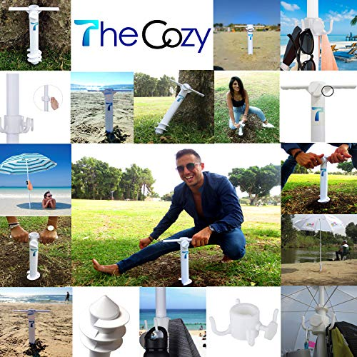 TheCozy Beach Umbrella Screw Sand Anchor Stand Holder | Fishing Rod Gripper One Size Fits All | Safe for Strong Wind with 4-prongs Hanging Hook