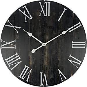 GoodTime 24 Inch Large Rustic Wooden Wall Clock – Oversize Farmhouse Roman Numerals Silent Clock - Big Wooden Wall Clocks for Indoor, Living Room, Bedroom, Kitchen, Dining Room Decor (002)