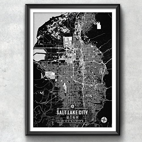 Salt Lake City Map with Coordinates, Salt Lake City Map, Map Art, Map Print, Salt Lake City Print, Salt Lake City Art, Salt Lake City, Map