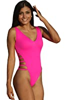Ujena Neon Strappy High-Cut One Piece 1-pc Hot Pink Sexy Swimsuit