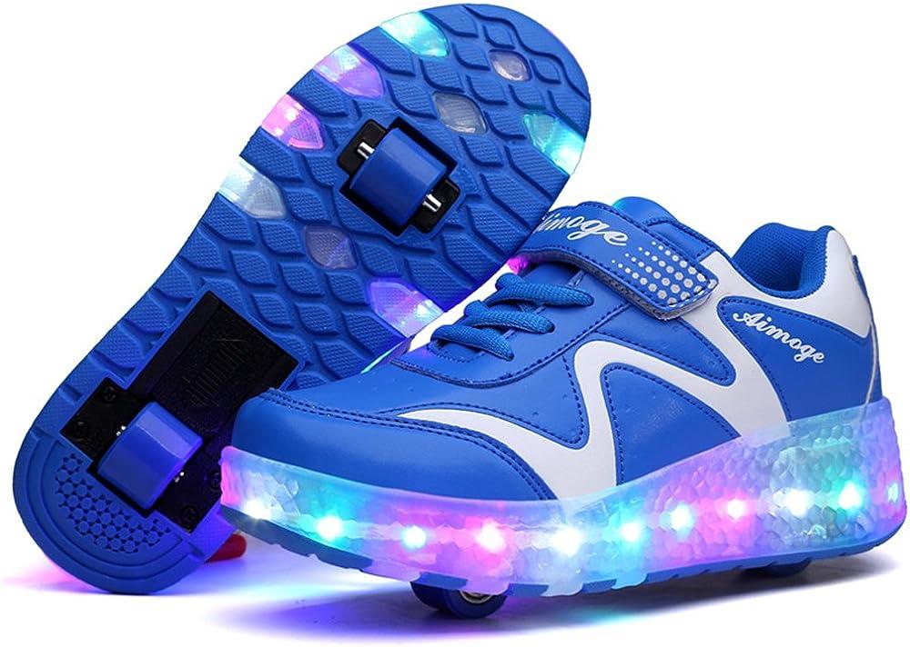 Blue-Double - 3 M US Big Kid strengths Kids LED Light Up Blink Double Wheel Roller Skate Fashion Sports Flashing Sneaker Shoes Boys Girls